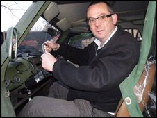 Huw Williams driving a Trabant
