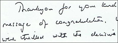 Margaret Thatcher's letter