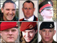 From top left: Warrant Officer Darren Chant, Sgt Matthew Telford and Guardsman Jimmy Major. From bottom left: Cpl Steven Boote, Cpl Nicholas Webster-Smith and Sgt Phillip Scott.