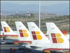 Grounded Iberia planes at Madrid airport