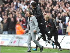 Swansea manager Paulo Sousa celebrates the 3-2 win over Cardiff