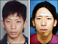 Tatsuya Ichihashi (l) and a picture of what Japanese police believe he looks like now after surgery, pic courtesy of Japanese police