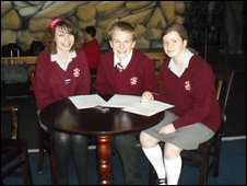School Reporters Esther, Jack and Emma from  St Aidans C of E Technology College in Poulton Le Fylde, Blackpool
