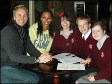 Jade Johnson and Ian Waite with School Reporters Esther, Jack and Emma from St Aidans C of E Technology College in Poulton Le Fylde, Blackpool.