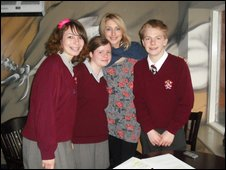 Ali Bastian with School Reporters Esther, Jack and Emma from St Aidans C of E Technology College in Poulton Le Fylde, Blackpool