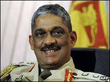 In this picture taken on July 15, 2009, Sri Lanka's new Chief of Defence Staff, General Sarath Fonseka assumes office