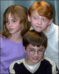 Daniel Radcliffe (bottom), Emma watson and Rupert Grint in 2000