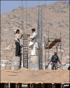Construction work in Kabul on 22 October 2009