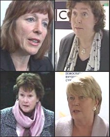 Women AMs (from top left, clockwise): Jane Davidson, Helen Mary Jones, Jenny Randerson, Angela Burns