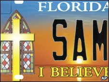 A mock-up of a similar number plate prepared for use in Florida