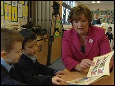Fiona Hyslop with school children