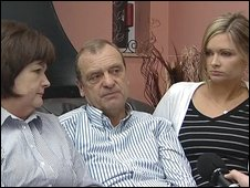 Lindsay's mother Julia Hawker (left),her father Bill (middle) and her sister Lisa (right)