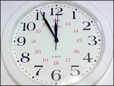 A clock showing five minute to the hour