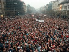 About 200,000 people gather on Wenceslas Square in Prague, Czechoslovakia on Nov. 21, 1989
