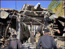 Bomb damage in Charsadda