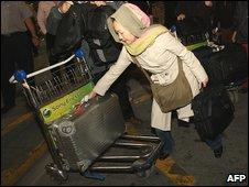 Passenger at Tehran's Imam Khomeini international airport
