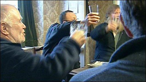 Locals inside the pub