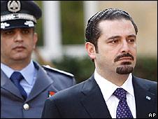 Prime Minister Saad Hariri (L)