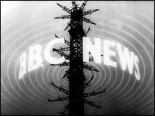 Black and white BBC newsreel logo from 1948