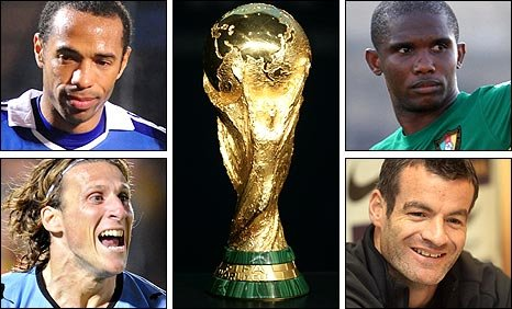 Clockwise from top left: Thierry Henry of France, Samuel Eto'o of Cameroon, Diego Forlan of Uruguay and Ryan Nelsen of New Zealand