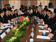 Leaders gathering ahead of the meeting in Singapore
