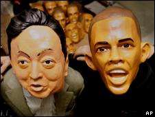 Rubber masks of President Obama and Prime Minister Yukio Hatoyama