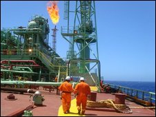 A platform ship in the Tupi oil field