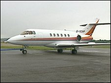 Small aeroplane on runway