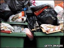 Overflowing bins in Leeds