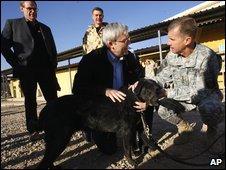 MIA dog meets Australian PM and US commander