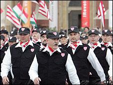 Jobbik's Magyar Garda on parade in Budapest (file pic)