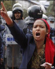 Maoist protester in Kathmandu
