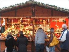 Shoppers at Leeds' German Christmas market