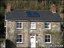 Cottage near Rhayader, Powys, fitted with two flat plate solar panels