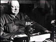 Winston Churchill making a speech in 1942