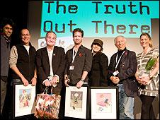 Doc/Fest award winners with Roger Graef, Heather Croall and Hussain Currimbhoy