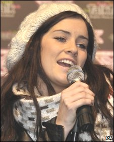 Lucie Jones performing in Cardiff city centre