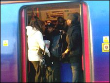Passengers on the 0656 GMT First Capital Connect train from Luton to Sevenoaks on 12 November 2009