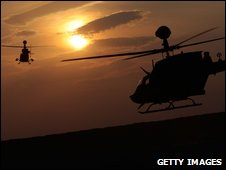 Kiowa helicopters take off from Kandahar, Afghanistan
