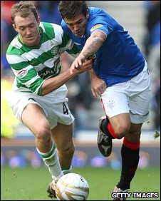 Nacho Novo and Aiden McGeady battle for the ball