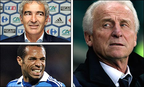 Clockwise from bottom left: Thierry Henry, Raymond Domenech and Giovanni Trapattoni