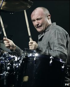 Phil Collins playing the drums