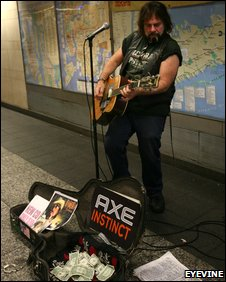 Axe sponsored busker in New York's subway