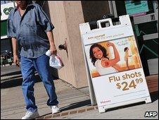 Swine flu jabs advertised in in Los Angeles