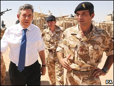 Gordon Brown with soldiers in Afghanistan