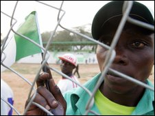 Nigeria fan with flag