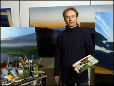 Kit Glaisyer working on his panoramic Turneresque landscapes at St Michael's Studios