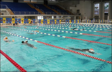 Ironman event swimming