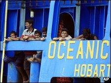 Tamil asylum seekers from Sri Lanka on board Australia customs ship Oceanic Viking - 29 October 2009