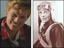 Hilary Swank in the film Amelia (l) and Amelia Earhart